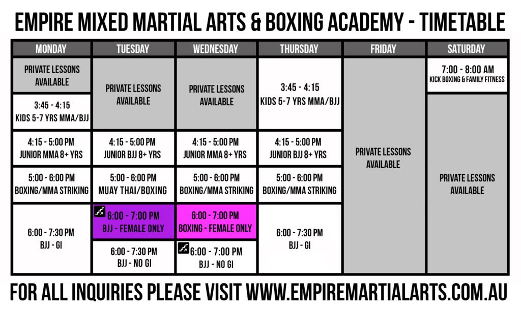 Gold Coast MMA Class Schedule